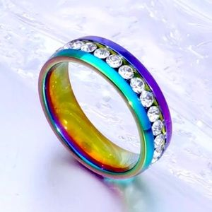 NWT Rainbow Stainless Steel & Rhinestone Band Ring